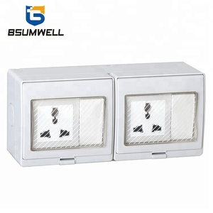 Multi-function IP55 250VAC 10A electrical waterproof wall 2Gang 2Way twin Switch 2Gang twin Socket with CE Approval