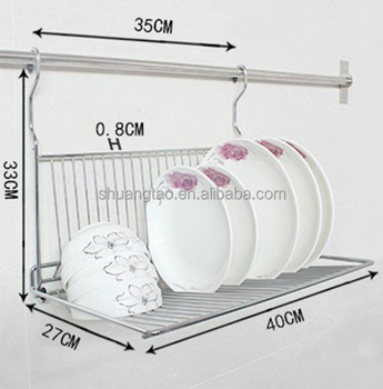 Practical Metal Hanging Dish Rack Wall Mount Dinner Plate Storage Holder