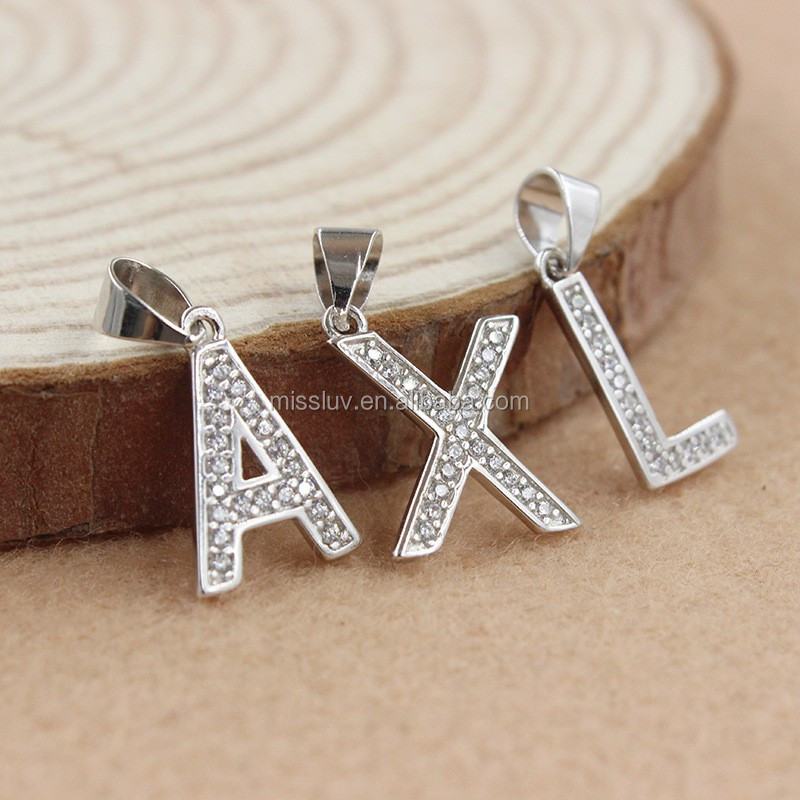 925 Sterling silver silver initial letter s set lettle diamond charm pendant