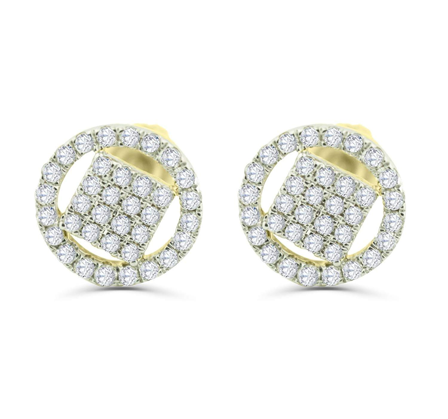 Get Quotations 10k Gold Diamond Earrings 1 3ctw Diamonds Round Cer Mens Or Womens Back 8mm
