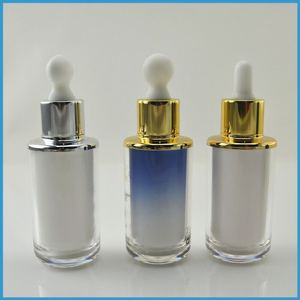 High End Empty 30 ml Cosmetic Glass Essential Oil Bottle with Dropper Cap