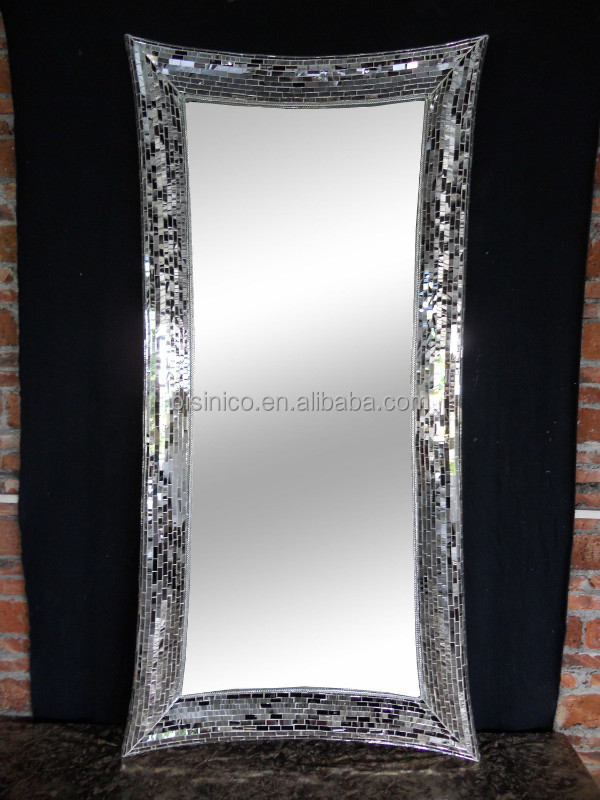 Rectangle crackle handmade full length design wall mirror for Full length mirror black frame