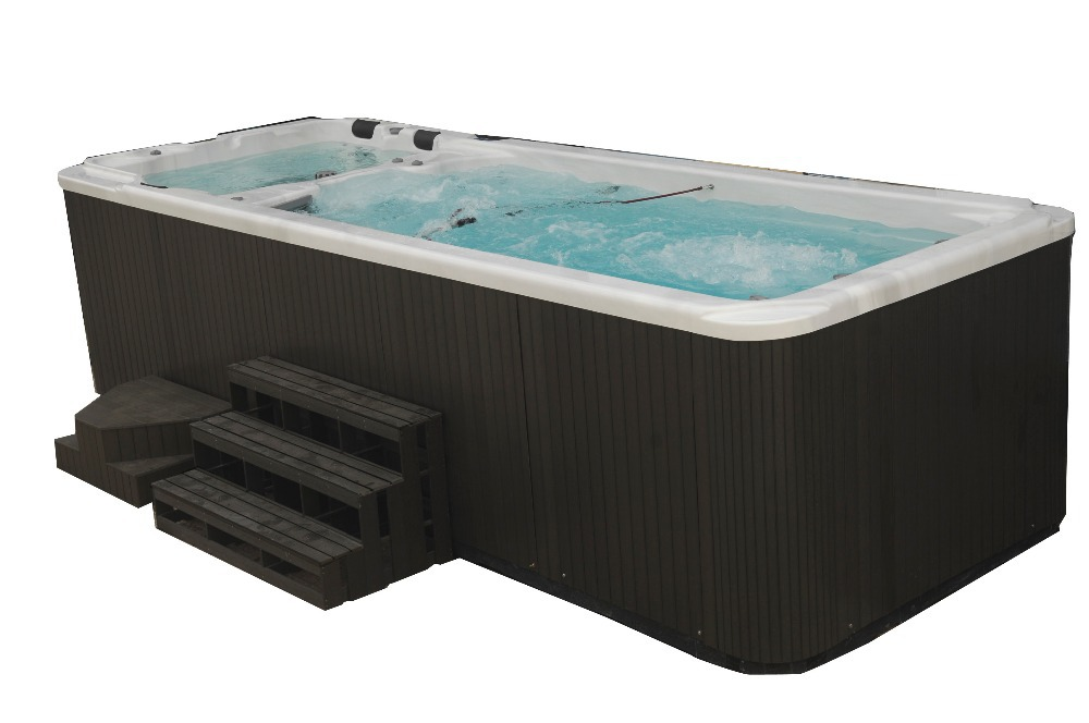 5810mm Acrylic Freestanding Whirlpool Container Swimming Pool Hot Tub Combo With Multi Color Led