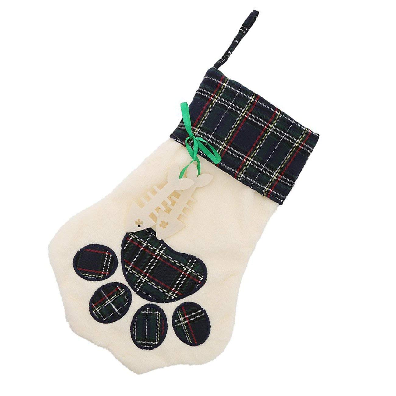 Lovely Personalize Pet Paw Plaid Plush Christmas Stocking Holiday Decor Gifts (Green)