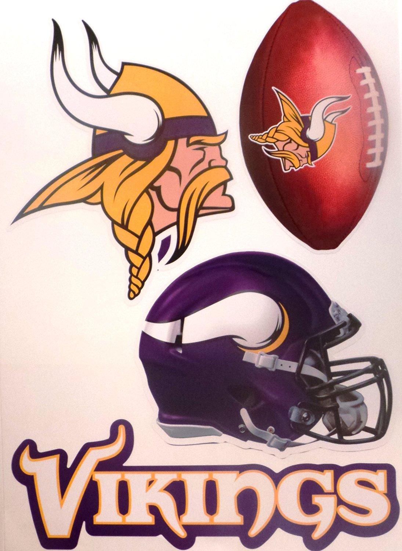 "Minnesota Vikings FATHEAD Set of 4 Team Logo Official NFL Vinyl Wall Graphics 16"" INCH SHEET"