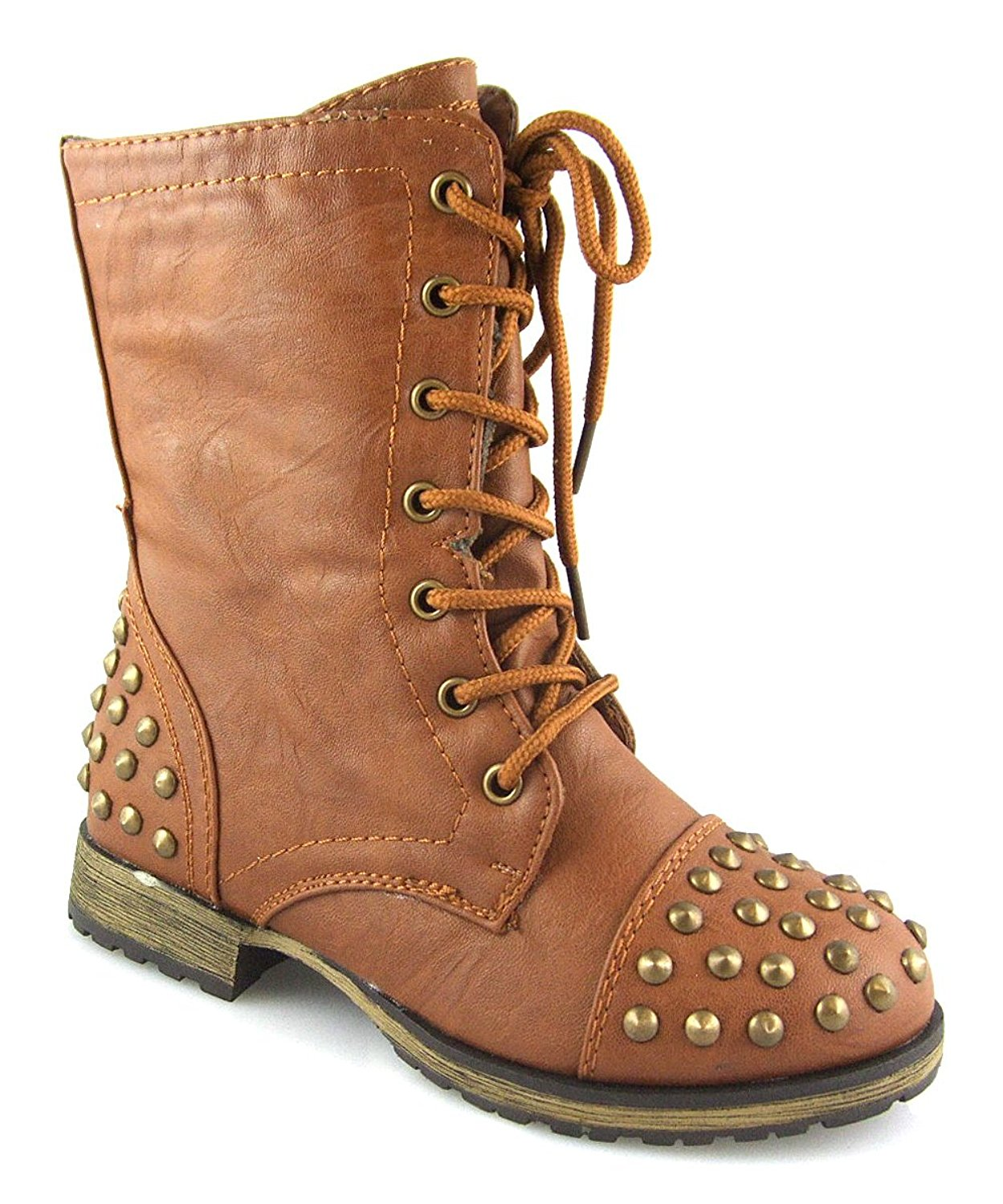 80f5160ecf26 Get Quotations · Megan 62K Little Girls Lace Up Combat Studded Boots Boots  Tan