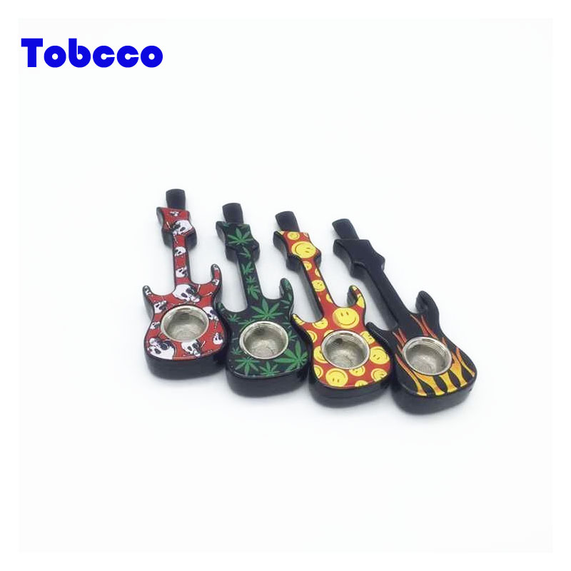 Chinese manufacture wholesale Guitar shape Design Metal Pipe Smoking Accessories