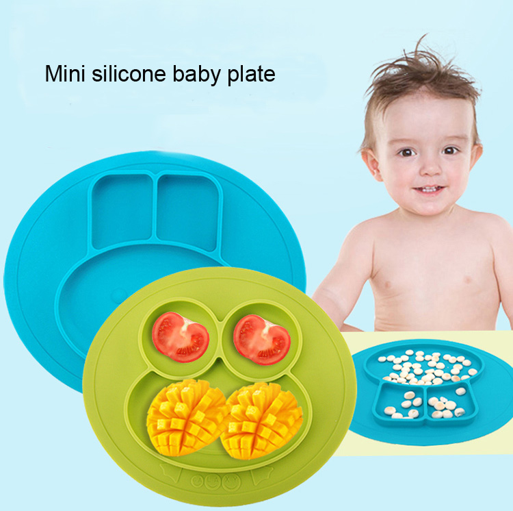 FDA food grade mini bunny foldable silicone baby feeding placemat one piece kids bowl dinner dining plate set suction custom