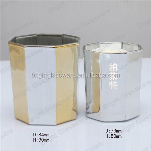 2017 new luxury design electroplated glass candle holder, mercury candle jar for wedding decoration