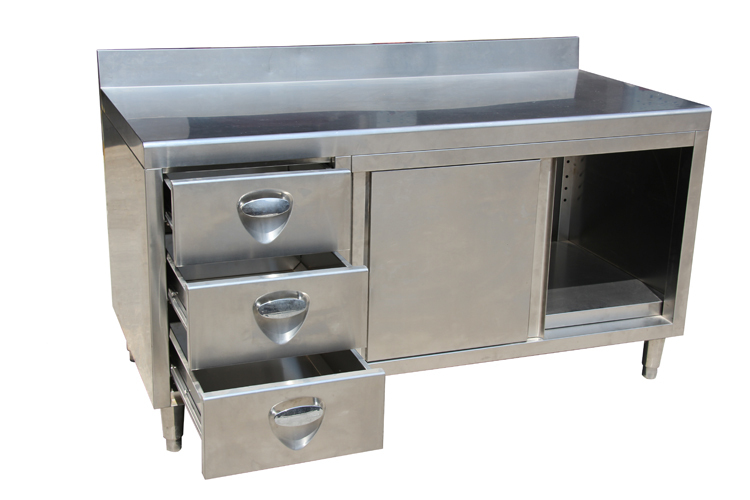 Hilton hotel kitchen display stainless steel commercial for Stainless steel kitchen cabinets manufacturers