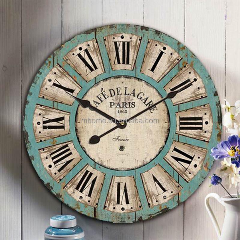 Style romain grande taille horloge murale en bois d corative buy horloge murale d corative for Grande horloge murale solde
