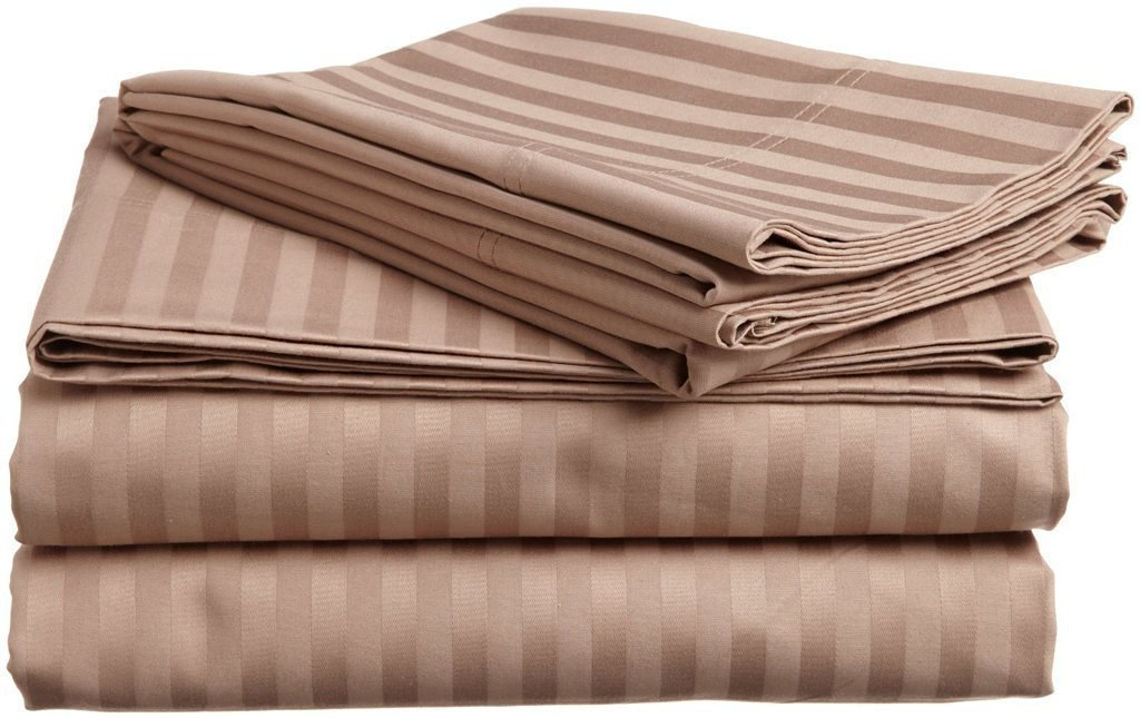 "Rajlinen Camper/RV Short Queen 4 PCs Sheet Set Bland Durable 800-Thread-Count (15"" Pockets) Egyptian Cotton (Taupe Stripe, RV Short Queen)"