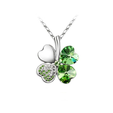 2017 lucky four leaf clover leaf necklace for women Austria Crystal Fashion Jewelry