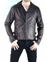 NEW 2015 GOTHIC MENS JACKET BIKER FAUX LEATHER GOTHIC MOTO CYCLE RAMONES PUNK PVC GOTH JACKET