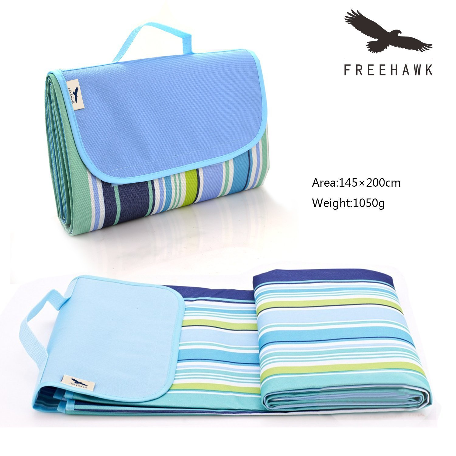 Beach Blanket/Foldable Picnic Blanket/Camping Mat/Camping Blanket Pad Cushion Mattress/Outdoor Blanket/Freehawk Handy Beach Mat with Carrying Strap,Lightweight Waterproof Nylon Oxford Cloth