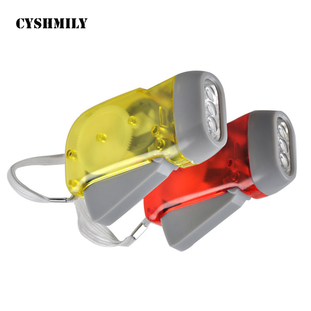 CYSHMILY plastic promotion hand crank self charge 3 led hand-pressing custom logo dynamo mini torchlight