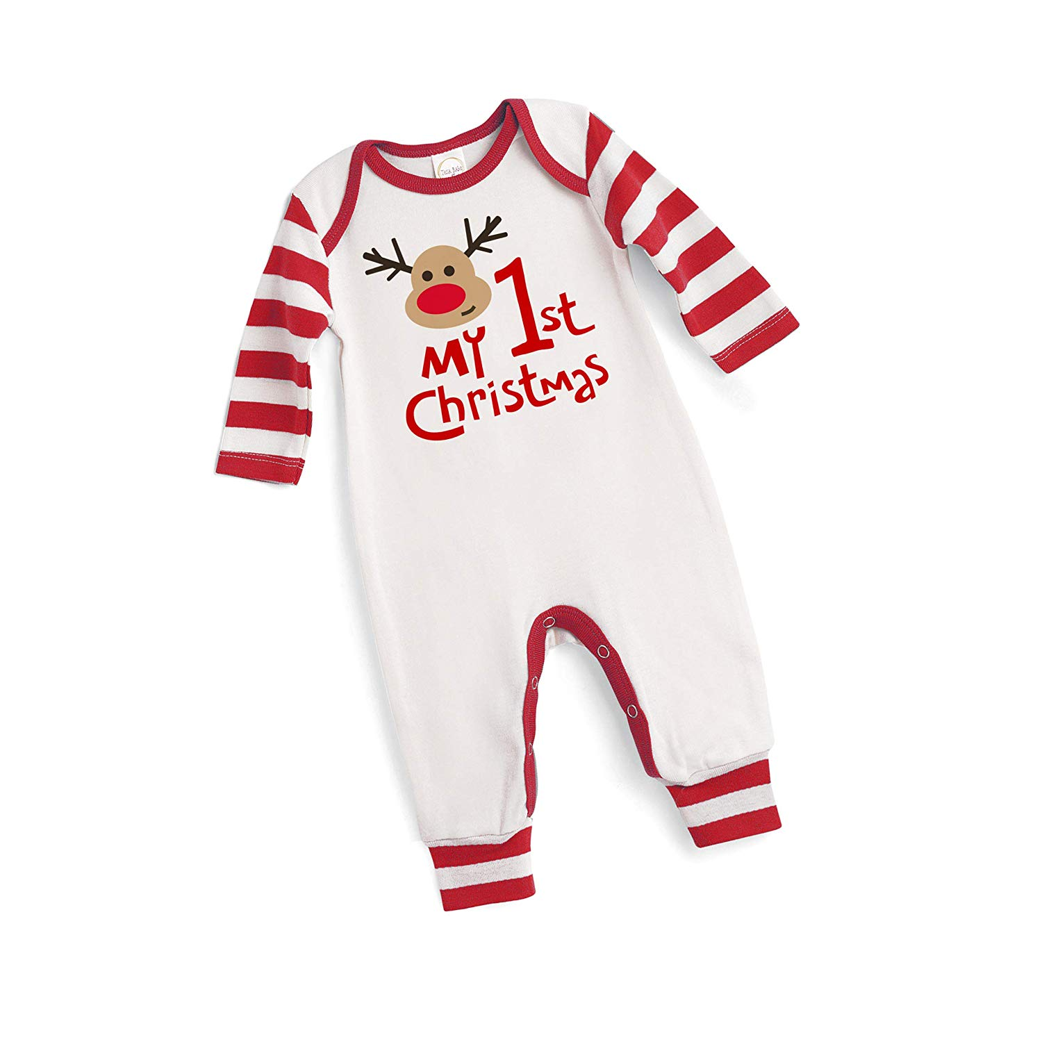 4e861568e Get Quotations · Tesa Babe My 1st Christmas Baby Onesie in Red and White  Ivory Striped Sleeves