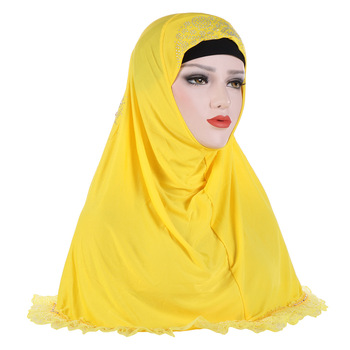 Exquisite Pure Color Ice Silk Lace Hijab Head Scarf Women