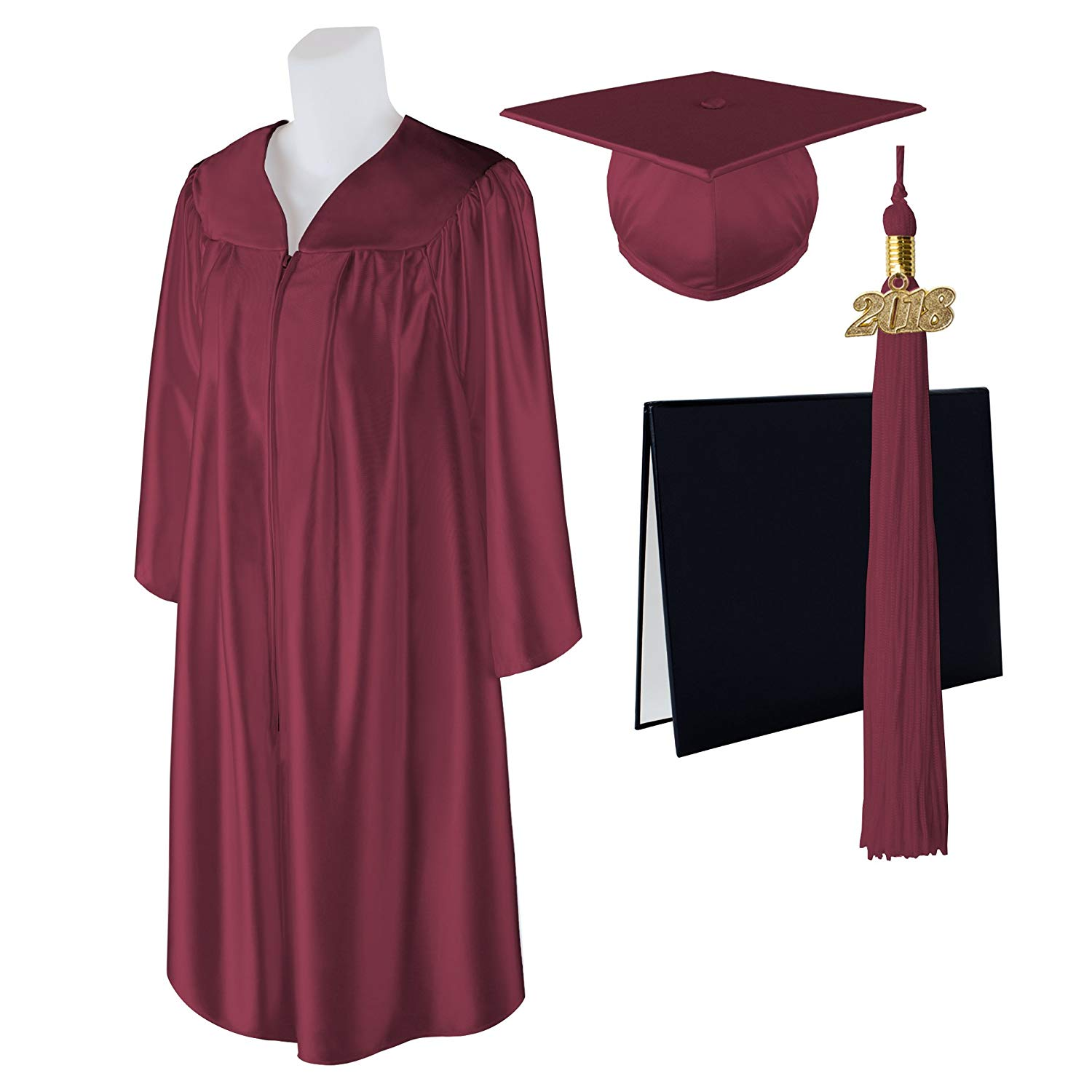 Get Quotations Standard Shiny Graduation Cap Gown And Diploma With Matching 2018 Tel Size 6