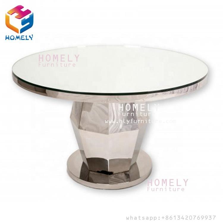HLY 상업 luxury 커피 dining 룸 round 웨딩 rose gold stainless steel round 레스토랑 표
