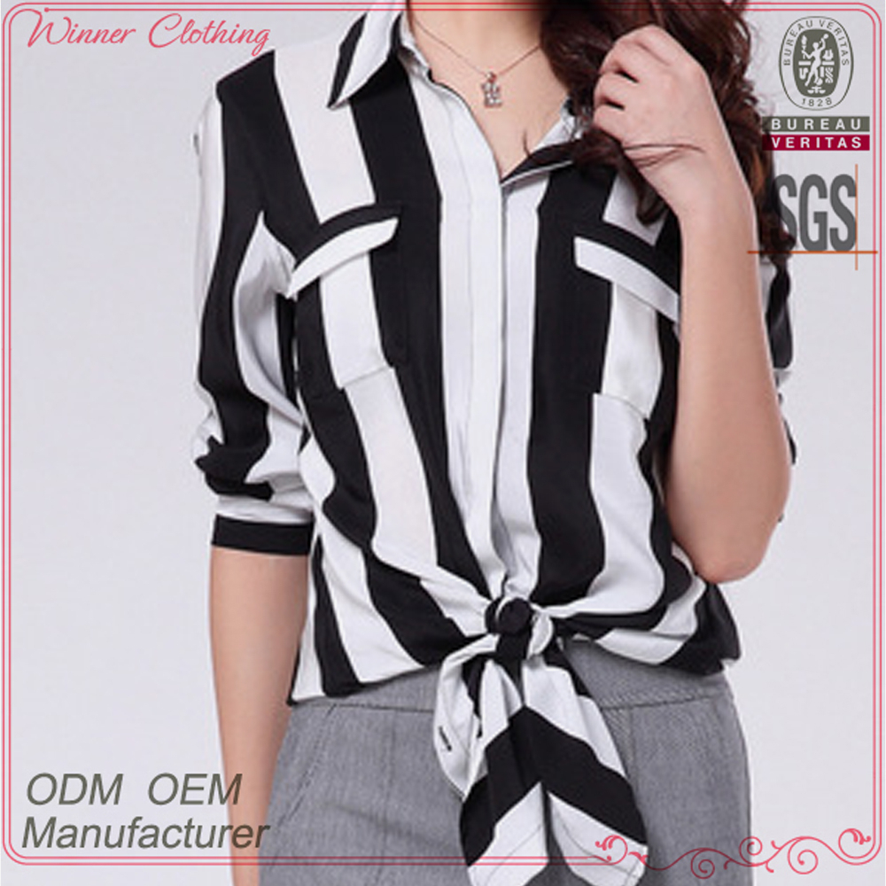 Women's Fashionable direct manufacturer long sleeves office striped blouse white black