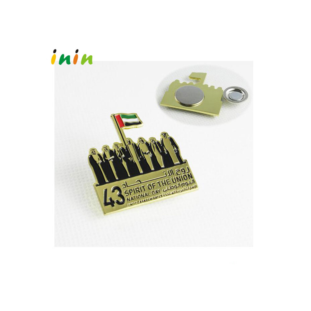 Dubai national day lapel pin , magnetic pin badge with custom logo for promotional