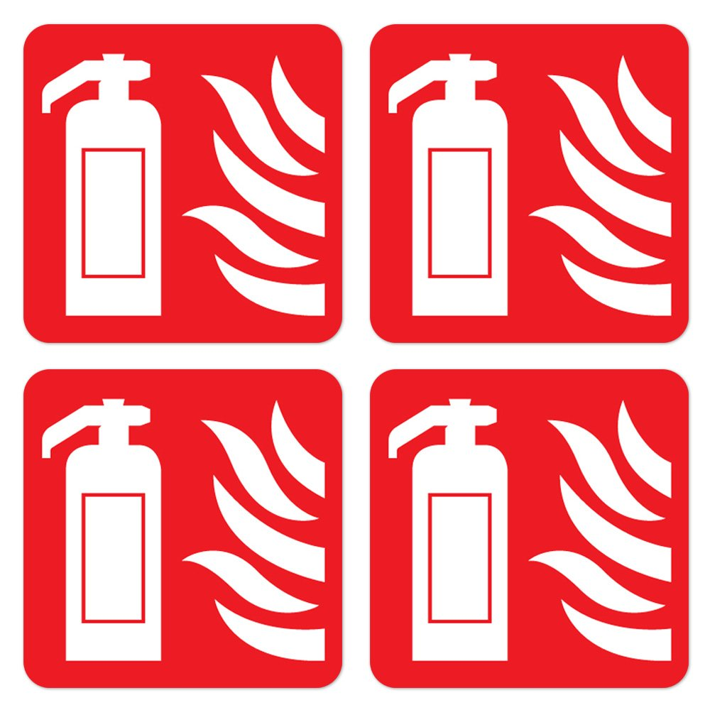 dealzEpic - Fire Extinguisher Sign | Self Adhesive Vinyl Decal Sticker | Pack of 4 Pcs