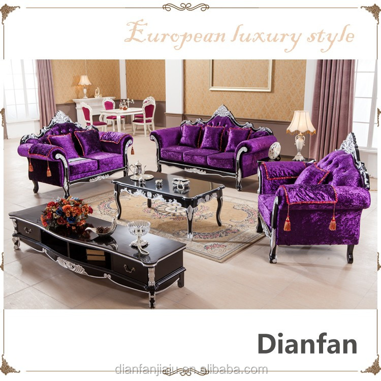 Carving Solid Wood Silver Plated Low Price Purple Velvet Sectional Sofa Set