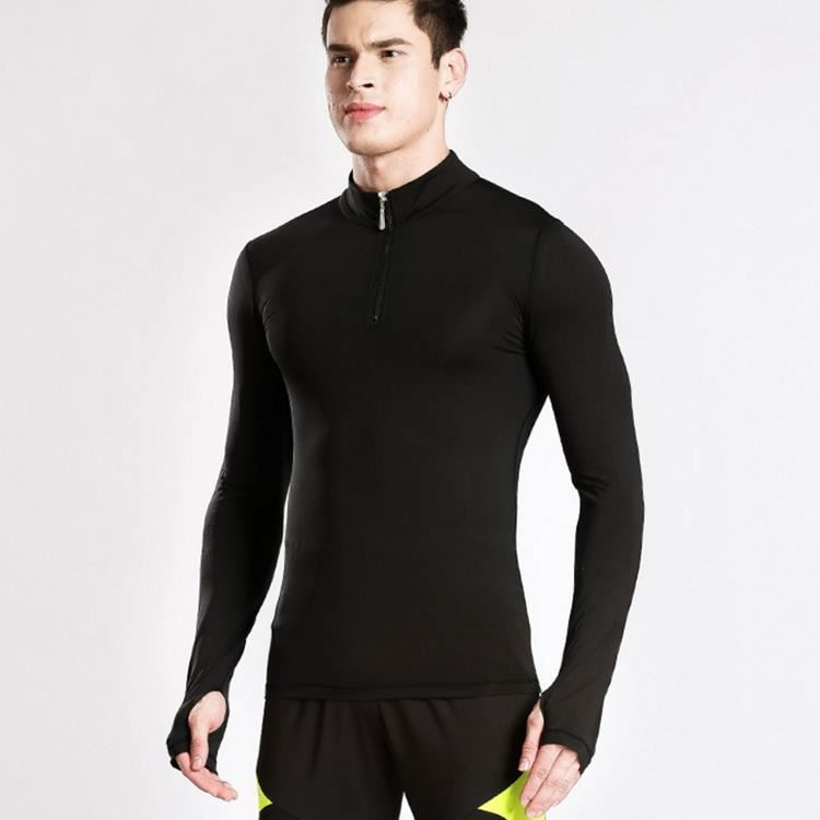 Men Zip-Up High Water-Absorbing Blank Stretch Yoga Shirt