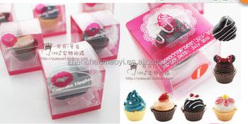 OEM Desgin Fashion 6color Cute Lovely Cake Shape Lip Balm Lipgloss Moisturizing Lipstick Birthday Gift For