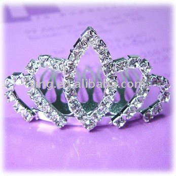 Fashion bridal clear rhinestones crystals mini tiara hair comb