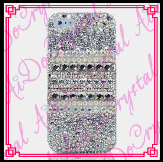 Aidocrystal Luxurious white diamond-studded bling crystal mobile phone case for apple iphone 4 4s 5 5s 5c 5se 6 6s 6c plus se