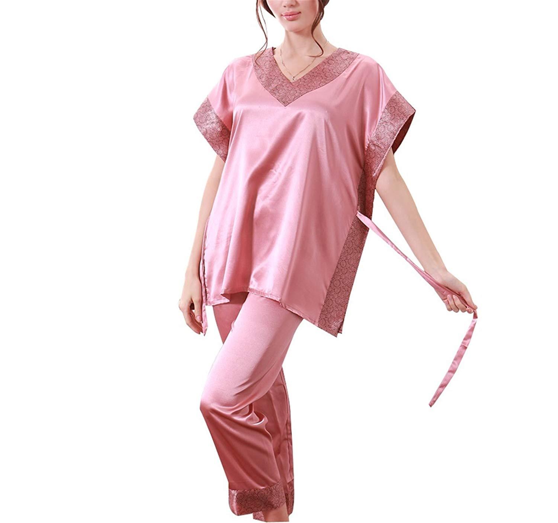 Get Quotations · Hot Fashion Women Pajamas Summer New Ladies Satin Pijama  Short Sleeve Silk Pajamas Sets Pyjamas Women a0a2b5fa0