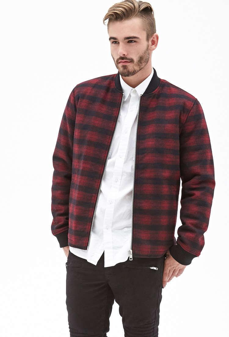 Plaid Bomber Jacket Ecoach Clothing Wholesaler Custom Men Casual ...