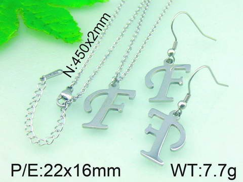 Capital Letter F Pendant Drop Earrings Stainless Steel Jewelry Set