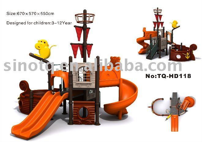 2014 small beach and popular kids pirate ship playground