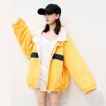 Wholesale Custom Bomber Jackets Women Fashion Printed Yellow Jacket