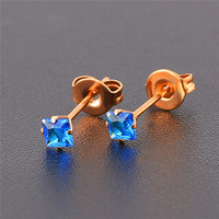 Hoyoo latest design four claws gold-plated square colorful zircon blue diamond long post earrings for women