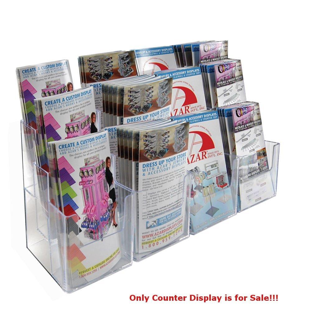 "2 Pc Clear 12 Pockets 3 Tier Tri-Fold Brochure Counter Display 27""W x5.375""D"