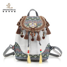 Wholesale Vintage Bohemian Women Travel Bag Thailand Linen Shoulder Backpack Bag