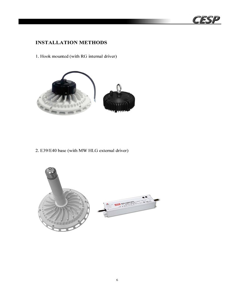 200W 150W 120W100W ufo led high bay light E39 E40