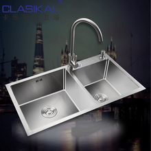 Cina mangkuk ganda hand made 304SUS <span class=keywords><strong>kitchen</strong></span> <span class=keywords><strong>sink</strong></span>