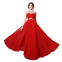 Wholesale A line beaded hand work neckline hollow back sash chiffon ball gowns red Oscar dress sexy
