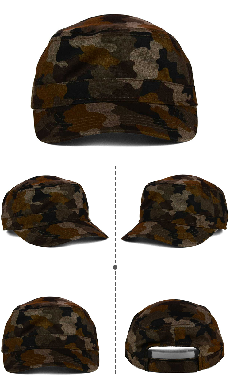 555344bc5f4 fashion design short brim promotional high quality cheap camo army flat top  cap hat