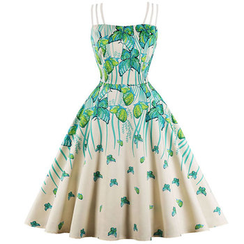 2012 Women's Sexy Tube Strappy Strap Butterfly High Waist Vintage Swing Print Dress Online Shopping