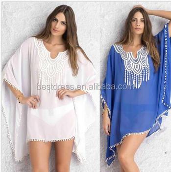 02551580b7a De las mujeres de la moda Kaftan DE LA PLAYA Kimono Up Sexy de gasa blanco