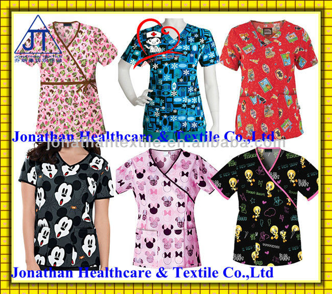 fashion! printed medical scrubs/nurse scrub suits unifoms/hospital scrubs