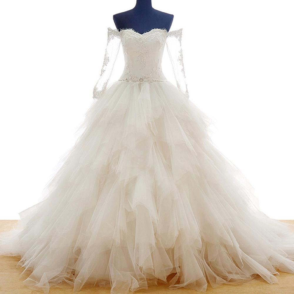 Buy China Ivory Real Sample Wedding Dress Princess Long Train Bridal ...