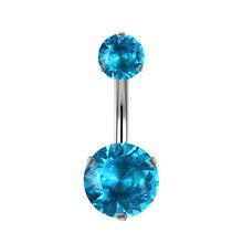 G23titan кольцо для живота из нержавеющей стали 14 г, две круглые хрустальные головки 12 мм, длинный живот, штанга бижутерия для тела(Китай)