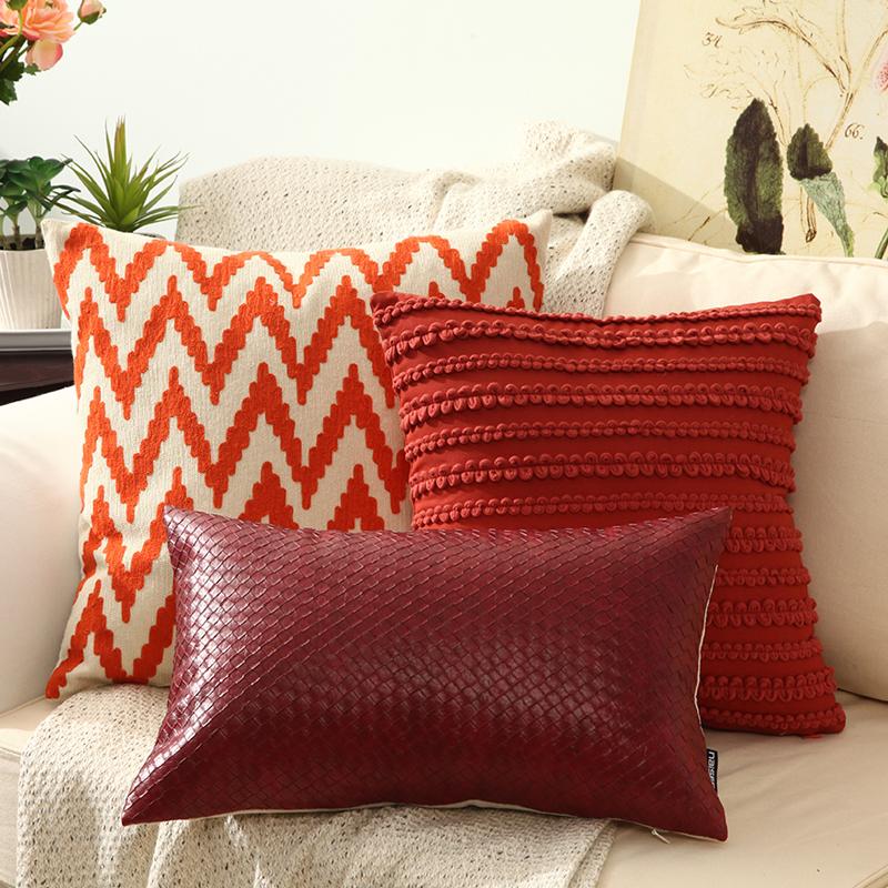 mode taie d 39 oreiller rouge coton canap housse de coussin. Black Bedroom Furniture Sets. Home Design Ideas